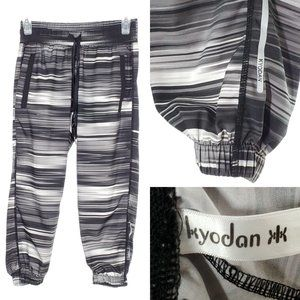 KYODAN Crop Workout Pants Joggers Striped Gray